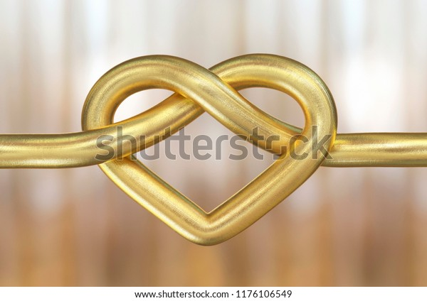 Gold wire ring forming heart shape