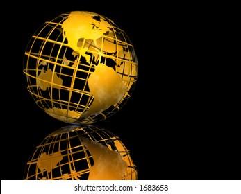 Gold Wire-framed Globe on Black Background