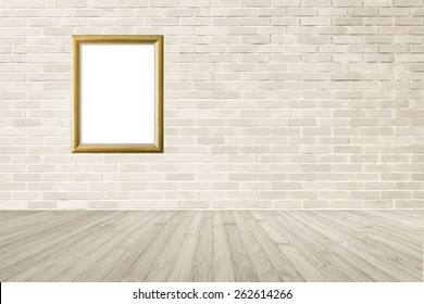 Gold wood frame on brick wall and wooden floor background