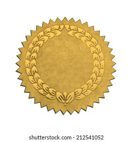 Gold Wreath Seal With Copy Space Isolated on White Background.