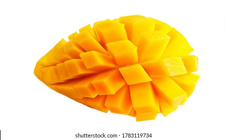 Gold yellow mango fruit ripe sweet slices top view isolated on white background,slices mango fruit ripe,mango ripe slice,thai fruit