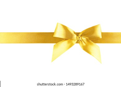 Gold yellow ribbon bow isolated on white background