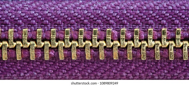 Gold zipper tightly closed binding together two layers of purple pink fabric textile under high magnification close detail photography as texture background.