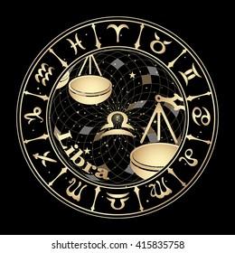Gold zodiac Sign Libra