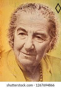 Golda Meir portrait on Israeli 10 shekel (1985) banknote close up. Prime minister of Israel.