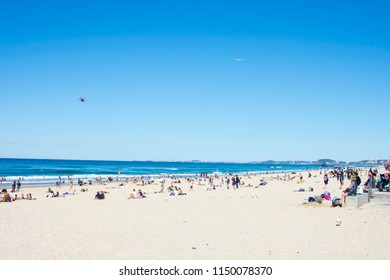 Goldcoast, Queensland/Australia - July 6th 2018: Beach of the City of Goldcoast