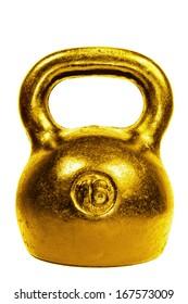 Golden 16 kg kettle bell isolated on white background