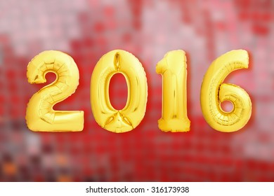 Golden 2016 year made of inflatable balloons on red blurred background. Christmas sign