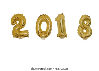 Golden 2018 balloons, new year concept