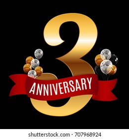 Golden 3 Years Anniversary Template with Red Ribbon  Illustration