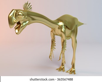 Golden 3D animal (Gigantoraptor) inside a stage with high render quality to be used as a logo, medal,   symbol, shape, emblem, icon, business, geometric, label or any other use