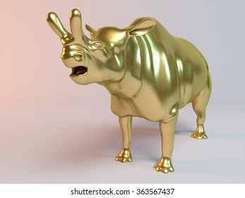 Golden 3D animal (old dinasour, brontotherium) inside a stage with high render quality to be used as   a logo, medal, symbol, shape, emblem, icon, business, geometric, label or any other use