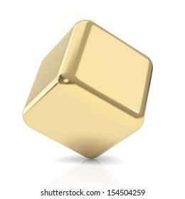 Golden 3d cube isolated with clipping path