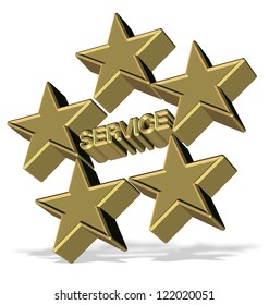 Golden 3d symbol for five star service / Five star service