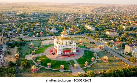 The golden abode of Buddha Shakyamuni at sunrise is the largest Buddhist temple in the Republic of Kalmykia, one of the largest Buddhist temples in Europe. Elista, Russia