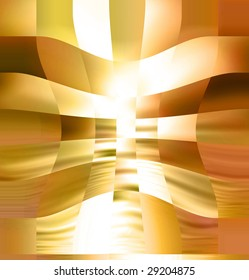 Golden abstract background with some cubes in it