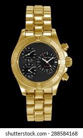 golden aerial wristwatch on black background