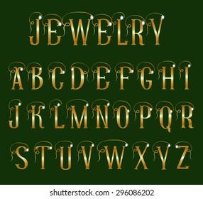Golden alphabet with diamonds on a dark green background