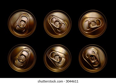 golden aluminum drink cans piled