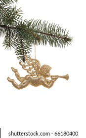 golden angel as decoration on Christmas tree