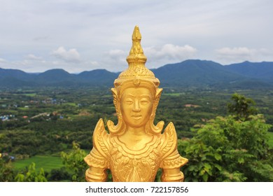 Golden angel statue in Thai temple