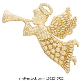 Golden angel with trumpet isolated on white background. Christmas decoration.