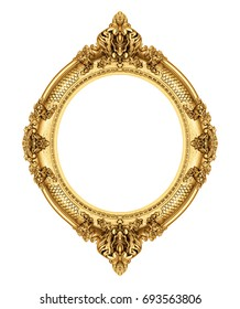 Golden antique frame isolated on white, included clipping path