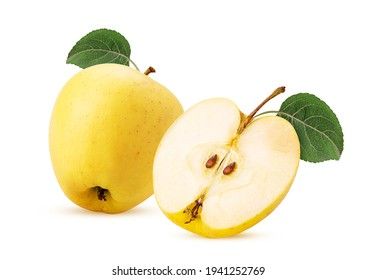 Golden apple delicious one cut in half with green leaf isolated on white background. Clipping Path. Full depth of field. - Shutterstock ID 1941252769