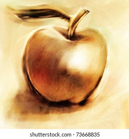 golden apple loosely digitally painted