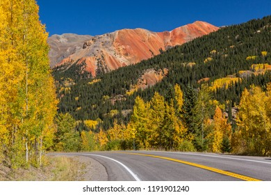 Golden aspens on Red Mountain Pass on the Million Dollar Highway in the Uncompahgre National Forest, Colorado.
