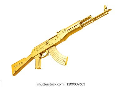Golden assault rifle, 3D rendering isolated on white background