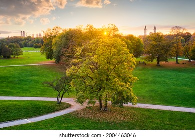Golden autumn fall October in famous Munich relax place - Englischer Garten. English garden with fallen leaves. Munchen, Bavaria, Germany - Shutterstock ID 2004463046