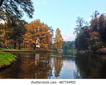 Golden autumn in Moscow's parks. Russia.