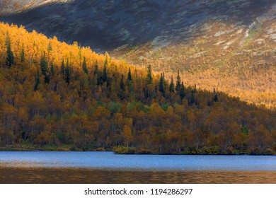 golden autumn on a mountain lake. Khibiny Mountains Murmansk region. Russia