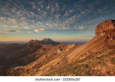 Golden autumn on the slopes of the mountains of the Caucasus and Adygea in the natural park Big Thach