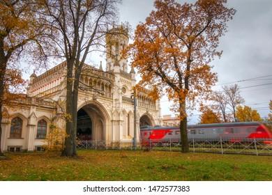 Golden autumn in Peterhof, Leningrad region. Station building, station New Peterhof in the fall.