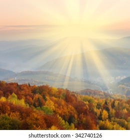 Golden autumn sunset in the mountains - Shutterstock ID 342740126