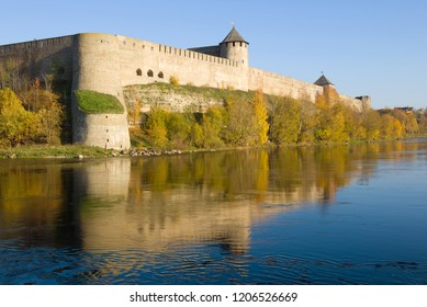 Golden autumn under the walls of the Ivangorod fortress. Leningrad region, Russia