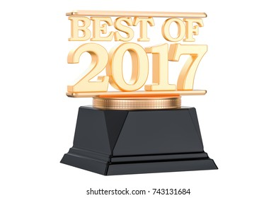 Golden Award, best of 2017 concept. 3D rendering isolated on white background
