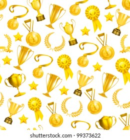 Golden Awards seamless pattern, bitmap copy