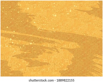 Golden background illustration written with a brush