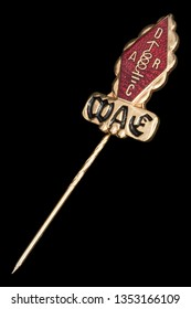 Golden badge of radio amateur diplom WAE - worked with all of Europe, isolated on black background
