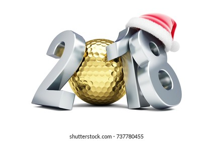 golden ball for golf 2018 new year cap Santa on a white background 3D illustration, 3D rendering