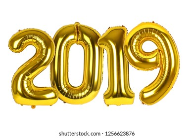 Golden Ballons with numbers 2019 isolated on white background. New Year theme.