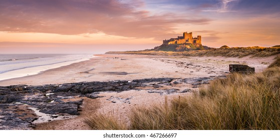 Golden Bamburgh Castle Panorama / Bamburgh Castle on the Northumberland coastline, bathed in late afternoon golden sunlight