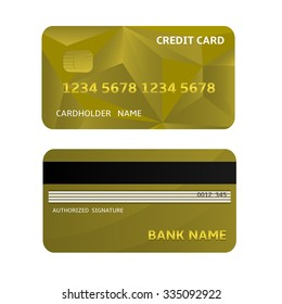 Golden Bank Credit Card Icons. Raster illustration