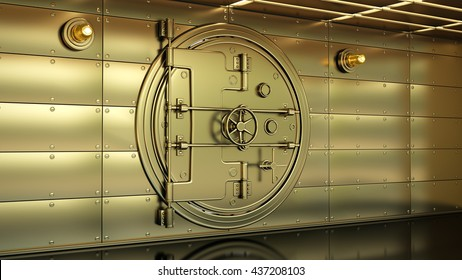 Golden Bank Vault Door. High resolution 3d