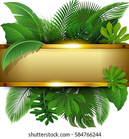 Golden banner with text space of Tropical Leaves. Suitable for nature concept, vacation, and summer holiday