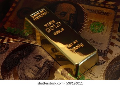 A Golden bar with dollar background.