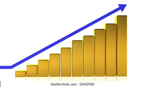 A golden bar graph showing a steady rise with a blue arrow.